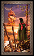 Three of Wands Tarot card in Tarot Grand Luxe deck