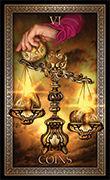 Six of Pentacles Tarot card in Tarot Grand Luxe deck