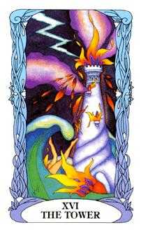 The Falling Tower Tarot Card - Tarot of a Moon Garden Tarot Deck
