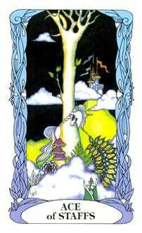 Ace of Rods Tarot Card - Tarot of a Moon Garden Tarot Deck