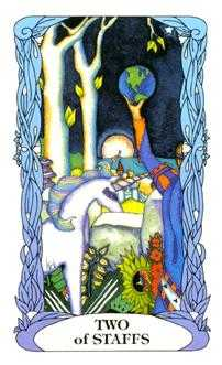 Two of Batons Tarot Card - Tarot of a Moon Garden Tarot Deck