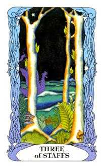 Three of Rods Tarot Card - Tarot of a Moon Garden Tarot Deck