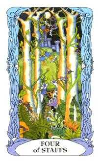 Four of Staves Tarot Card - Tarot of a Moon Garden Tarot Deck