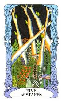 Five of Batons Tarot Card - Tarot of a Moon Garden Tarot Deck