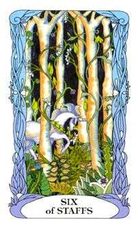 Six of Rods Tarot Card - Tarot of a Moon Garden Tarot Deck
