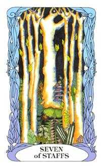 Seven of Staves Tarot Card - Tarot of a Moon Garden Tarot Deck