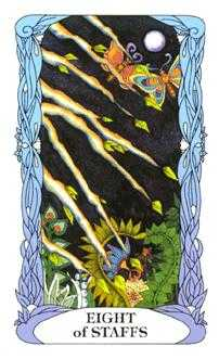 Eight of Rods Tarot Card - Tarot of a Moon Garden Tarot Deck