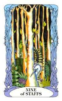 Nine of Batons Tarot Card - Tarot of a Moon Garden Tarot Deck