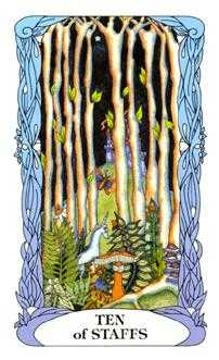 Ten of Batons Tarot Card - Tarot of a Moon Garden Tarot Deck