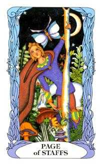 Valet of Batons Tarot Card - Tarot of a Moon Garden Tarot Deck