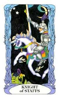 Knight of Batons Tarot Card - Tarot of a Moon Garden Tarot Deck