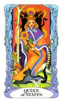 Queen of Batons Tarot Card - Tarot of a Moon Garden Tarot Deck