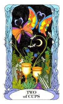 Two of Cups Tarot Card - Tarot of a Moon Garden Tarot Deck