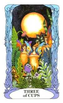 Three of Cups Tarot Card - Tarot of a Moon Garden Tarot Deck