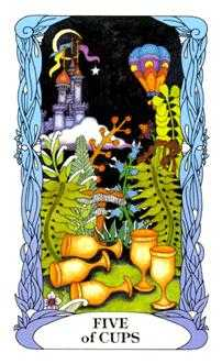 Five of Bowls Tarot Card - Tarot of a Moon Garden Tarot Deck