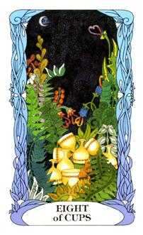 Eight of Bowls Tarot Card - Tarot of a Moon Garden Tarot Deck