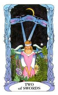 Two of Swords Tarot Card - Tarot of a Moon Garden Tarot Deck
