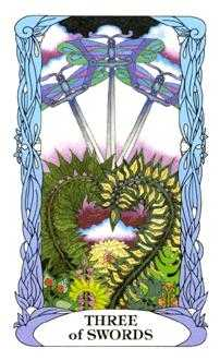 Three of Bats Tarot Card - Tarot of a Moon Garden Tarot Deck