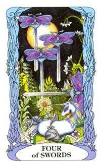 Four of Bats Tarot Card - Tarot of a Moon Garden Tarot Deck