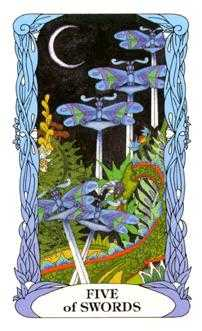 Five of Bats Tarot Card - Tarot of a Moon Garden Tarot Deck