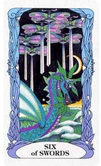 Six of Swords Tarot Card - Tarot of a Moon Garden Tarot Deck