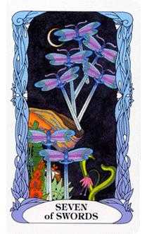 Seven of Swords Tarot Card - Tarot of a Moon Garden Tarot Deck