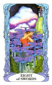 Eight of Swords Tarot Card - Tarot of a Moon Garden Tarot Deck