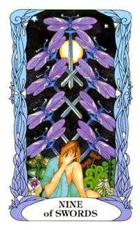Nine of Bats Tarot Card - Tarot of a Moon Garden Tarot Deck