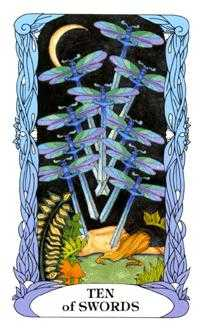 Ten of Arrows Tarot Card - Tarot of a Moon Garden Tarot Deck