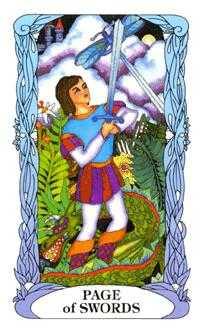Page of Swords Tarot Card - Tarot of a Moon Garden Tarot Deck