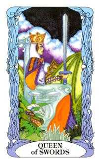 Queen of Swords Tarot Card - Tarot of a Moon Garden Tarot Deck