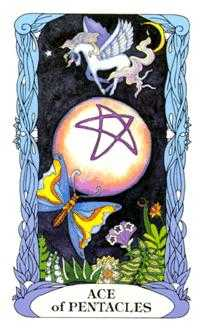 Ace of Coins Tarot Card - Tarot of a Moon Garden Tarot Deck