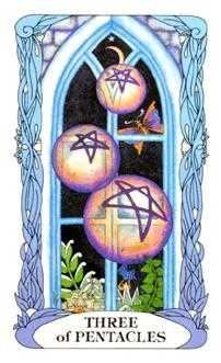 Three of Coins Tarot Card - Tarot of a Moon Garden Tarot Deck