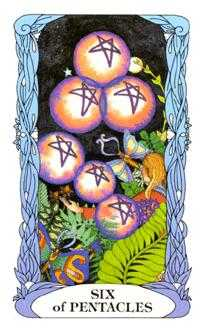 Six of Coins Tarot Card - Tarot of a Moon Garden Tarot Deck