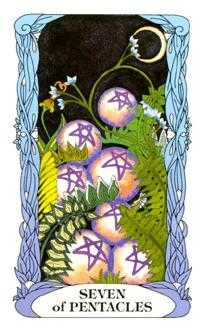 Seven of Coins Tarot Card - Tarot of a Moon Garden Tarot Deck