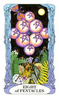 Eight of Coins Tarot Card - Tarot of a Moon Garden Tarot Deck