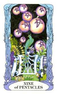 Nine of Coins Tarot Card - Tarot of a Moon Garden Tarot Deck
