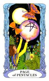 Valet of Coins Tarot Card - Tarot of a Moon Garden Tarot Deck