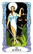 Justice Tarot card in Tarot of a Moon Garden deck