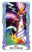The Tower Tarot card in Tarot of a Moon Garden deck
