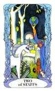 Two of Wands Tarot card in Tarot of a Moon Garden deck