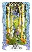 Four of Wands Tarot card in Tarot of a Moon Garden deck