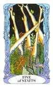 Five of Wands Tarot card in Tarot of a Moon Garden Tarot deck