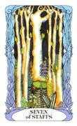 Seven of Wands Tarot card in Tarot of a Moon Garden Tarot deck