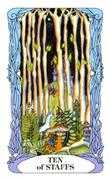 Ten of Wands Tarot card in Tarot of a Moon Garden deck