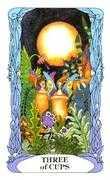 Three of Cups Tarot card in Tarot of a Moon Garden deck