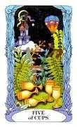 Five of Cups Tarot card in Tarot of a Moon Garden deck