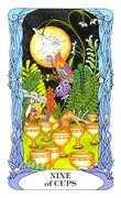 Nine of Cups Tarot card in Tarot of a Moon Garden deck