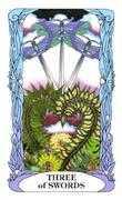 Three of Swords Tarot card in Tarot of a Moon Garden deck