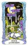 Four of Swords Tarot card in Tarot of a Moon Garden deck
